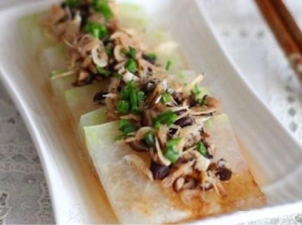 虾皮香菇蒸冬瓜,搭配全面营养高,健康美味零脂肪,你值得拥有