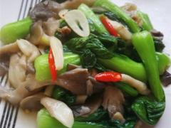 上海青炒平菇